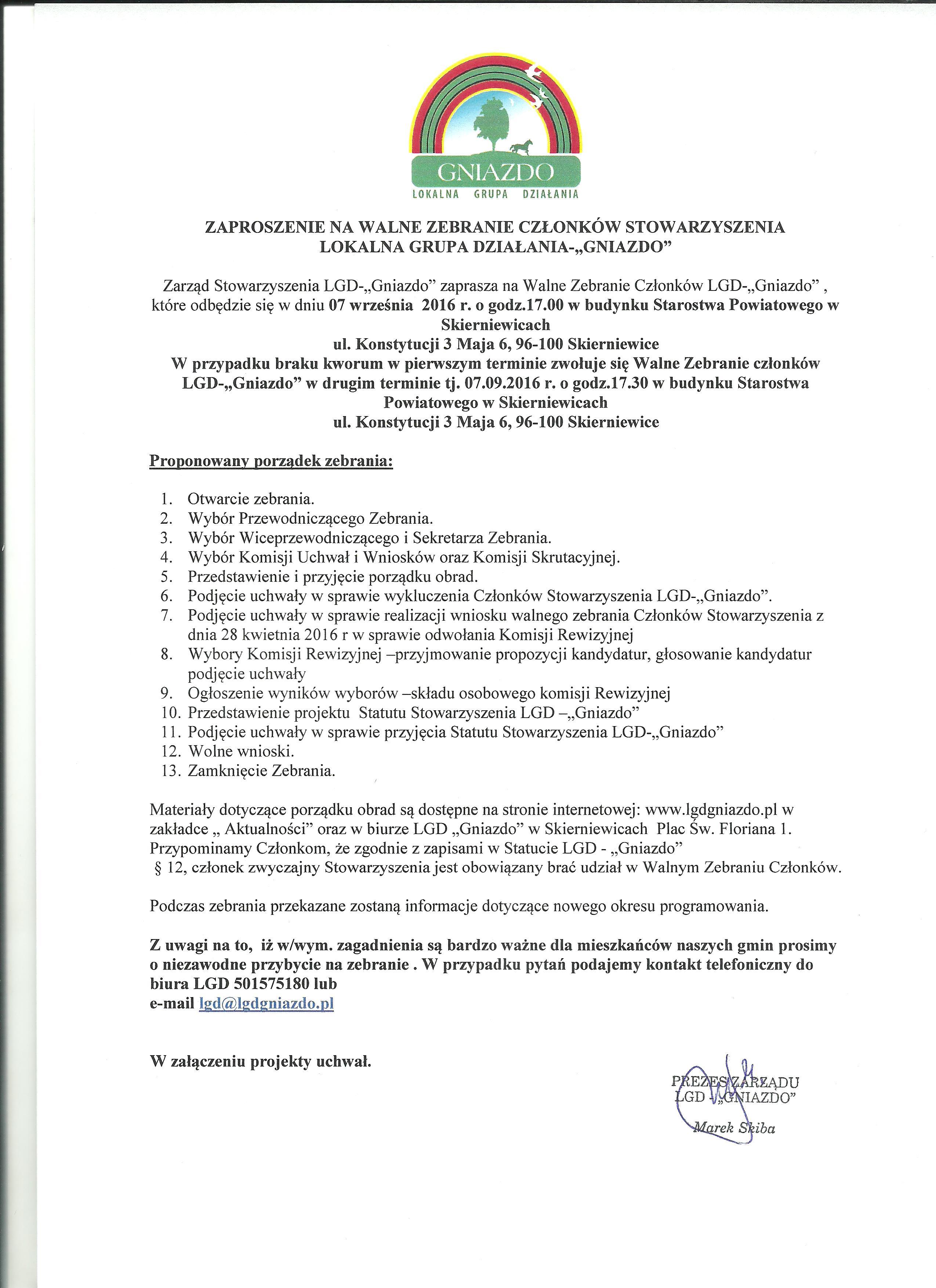 Zaproszenie na Walne Zebranie Czlonków Stowarzyszenia LGD - Gniazdo 001